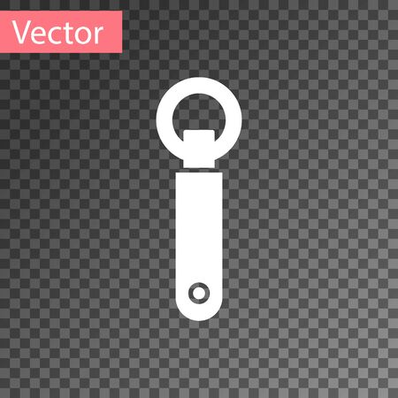 White Bottle opener icon isolated on transparent background. Vector Illustration