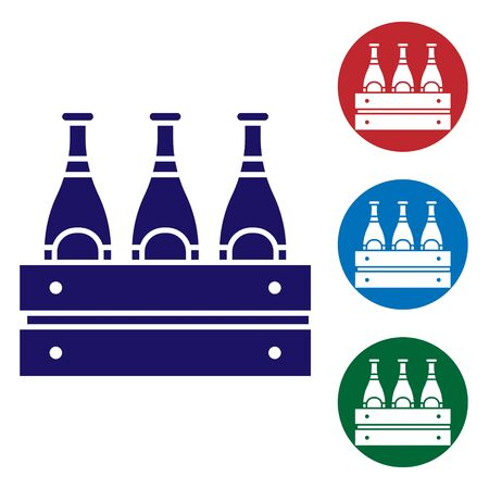 Blue Pack of beer bottles icon isolated on white background. Wooden box and beer bottles. Case crate beer box sign. Set color icons in circle buttons. Vector Illustration