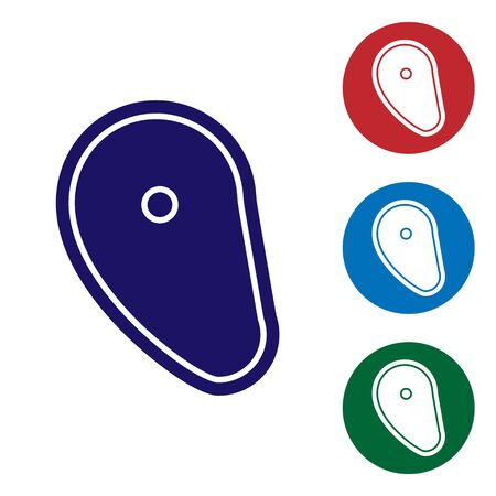 Blue Steak meat icon isolated on white background. Set color icons in circle buttons. Vector Illustration Çizim