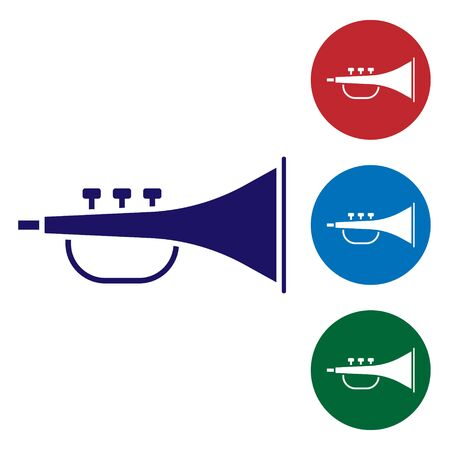 Blue Musical instrument trumpet icon isolated on white background. Set color icons in circle buttons. Vector Illustration