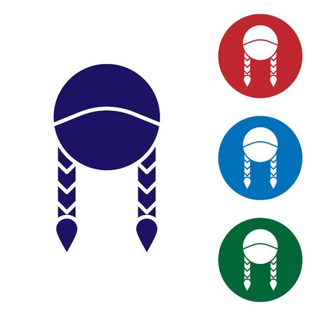 Blue Braid icon isolated on white background. Set color icons in circle buttons. Vector Illustration