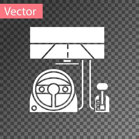 White Racing simulator cockpit icon isolated on transparent background. Gaming accessory. Gadget for driving simulation game.  Vector Illustration 向量圖像