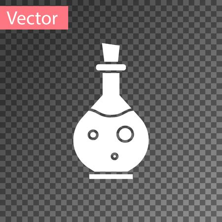 White Glass bottle with magic elixir icon isolated on transparent background. Computer game asset. Vector Illustration Illustration