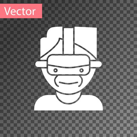 White Virtual reality glasses icon isolated on transparent background. Stereoscopic 3d vr mask. Vector Illustration
