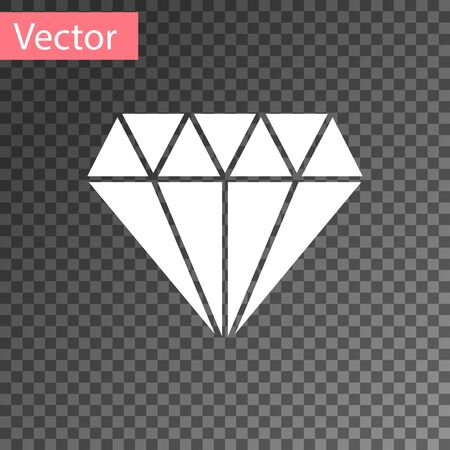 White Diamond icon isolated on transparent background. Jewelry symbol. Gem stone. Vector Illustration Illusztráció