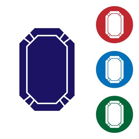 Blue Poker table icon isolated on white background. Set color icons in circle buttons. Vector Illustration