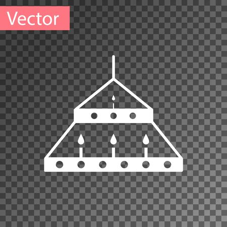 White Massive steel chandelier with candles in medieval icon isolated on transparent background.  Vector Illustration