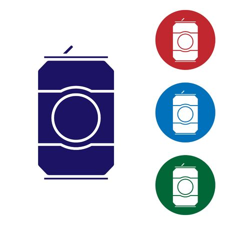 Blue Beer can icon isolated on white background. Set color icons in circle buttons. Vector Illustration 写真素材 - 137794985