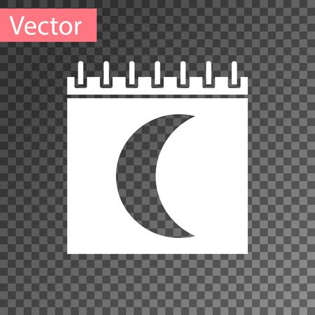 White Moon phases calendar icon isolated on transparent background. Vector Illustration