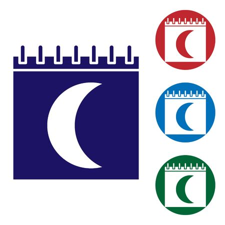 Blue Moon phases calendar icon isolated on white background. Set color icons in circle buttons. Vector Illustration