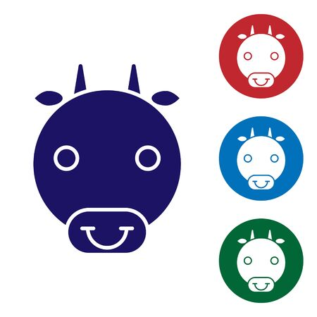 Blue Ox zodiac sign icon isolated on white background. Astrological horoscope collection. Set color icons in circle buttons. Vector Illustration