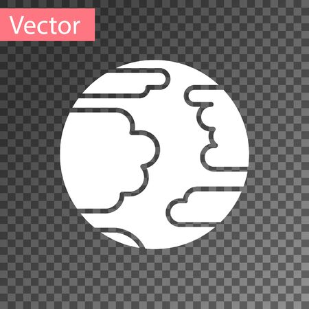 White Planet Mercury icon isolated on transparent background. Vector Illustration