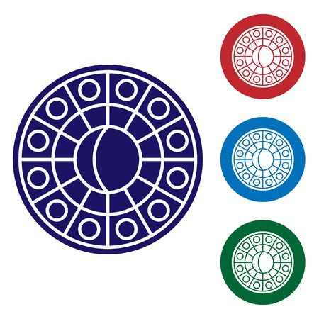 Blue Astrology horoscope circle with zodiac icon isolated on white background. Set color icons in circle buttons. Vector Illustration Archivio Fotografico - 137797320