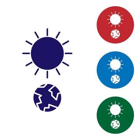 Blue Solstice icon isolated on white background. Set color icons in circle buttons. Vector Illustration Stock Illustratie