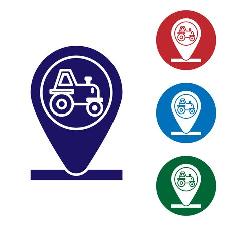 Blue Tractor and location icon isolated on white background. Set color icons in circle buttons. Vector Illustration