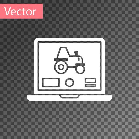 White Laptop application for control a autonomous tractor on a smart farm icon isolated on transparent background. Smart agriculture implement. Vector Illustration