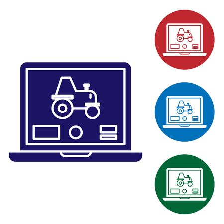 Blue Laptop application for control a autonomous tractor on a smart farm icon isolated on white background. Smart agriculture implement. Set color icons in circle buttons. Vector Illustration