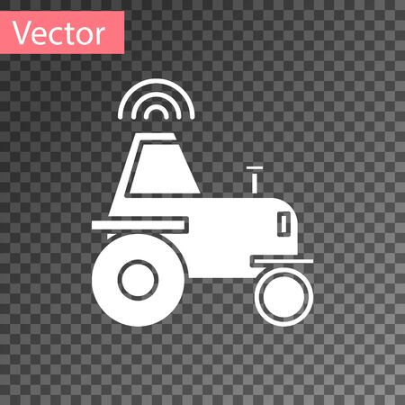 White Self driving wireless tractor on a smart farm icon isolated on transparent background. Smart agriculture implement element. Vector Illustration