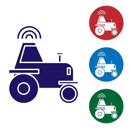 Blue Self driving wireless tractor on a smart farm icon isolated on white background. Smart agriculture implement element. Set color icons in circle buttons. Vector Illustration