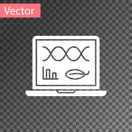 White Genetic engineering modification on laptop icon isolated on transparent background. DNA analysis, genetics testing, cloning. Vector Illustration Illusztráció