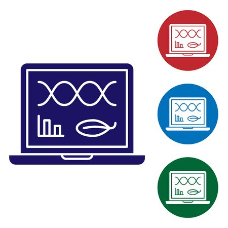 Blue Genetic engineering modification on laptop icon isolated on white background. DNA analysis, genetics testing, cloning. Set color icons in circle buttons. Vector Illustration