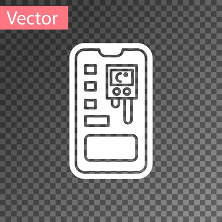 White Smart control farming system mobile application icon isolated on transparent background. Vector Illustration