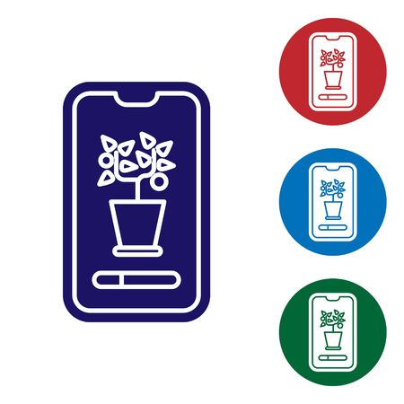 Blue Smart control farming system mobile application icon isolated on white background. Set color icons in circle buttons. Vector Illustration