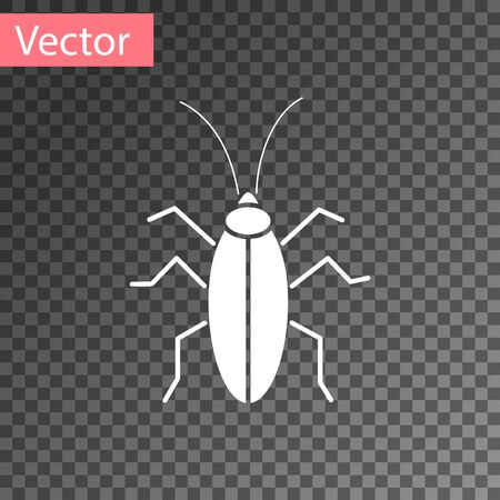 White Cockroach icon isolated on transparent background. Vector Illustration