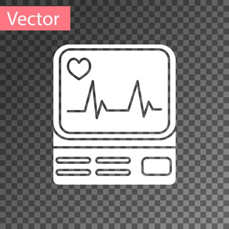 White Computer monitor with cardiogram icon isolated on transparent background. Monitoring icon. ECG monitor with heart beat hand drawn. Vector Illustration Illustration