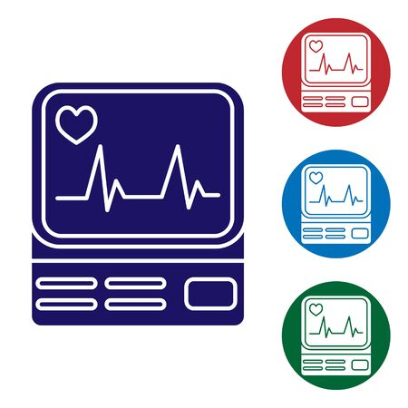 Blue Computer monitor with cardiogram icon isolated on white background. Monitoring icon. ECG monitor with heart beat hand drawn. Set color icons in circle buttons. Vector Illustration Illustration