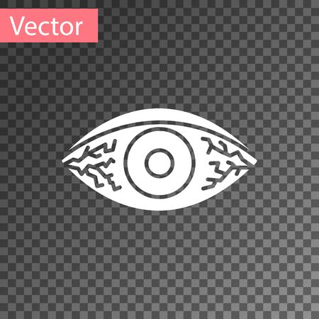 White Reddish eye due to viral, bacterial or allergic conjunctivitis icon isolated on transparent background. Vector Illustration