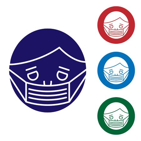 Blue Man face in a medical protective mask icon isolated on white background. Quarantine. Set color icons in circle buttons. Vector Illustration