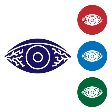 Blue Reddish eye due to viral, bacterial or allergic conjunctivitis icon isolated on white background. Set color icons in circle buttons. Vector Illustration Ilustrace