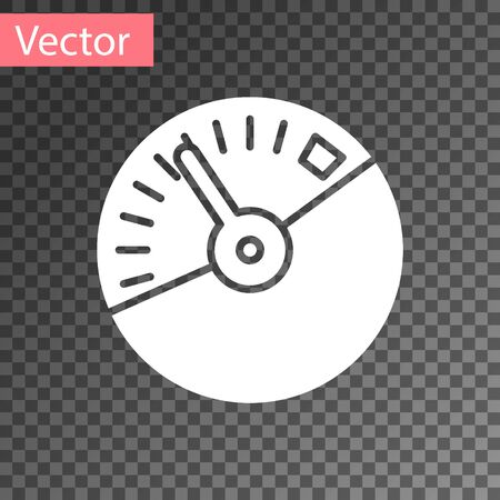 White Speedometer icon isolated on transparent background. Vector Illustration