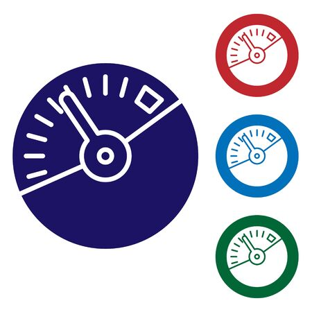 Blue Speedometer icon isolated on white background. Set color icons in circle buttons. Vector Illustration Ilustrace