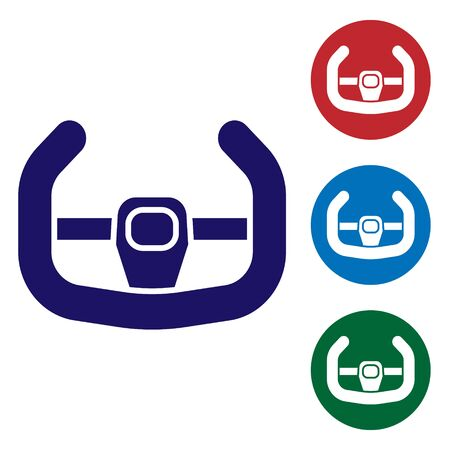 Blue Sport steering wheel icon isolated on white background. Car wheel icon. Set color icons in circle buttons. Vector Illustration Illustration