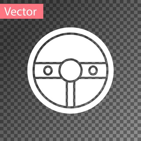 White Steering wheel icon isolated on transparent background. Car wheel icon. Vector Illustration Illustration