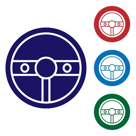 Blue Steering wheel icon isolated on white background. Car wheel icon. Set color icons in circle buttons. Vector Illustration