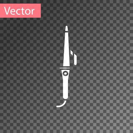 White Curling iron for hair icon isolated on transparent background. Hair straightener icon. Vector Illustration