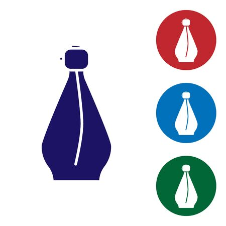 Blue Perfume icon isolated on white background. Set color icons in circle buttons. Vector Illustration