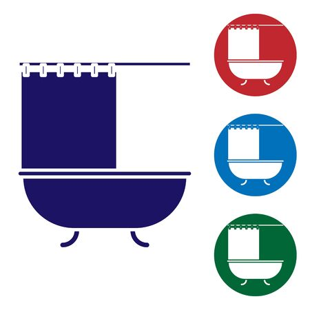 Blue Bathtub with open shower curtain icon isolated on white background. Set color icons in circle buttons. Vector Illustration