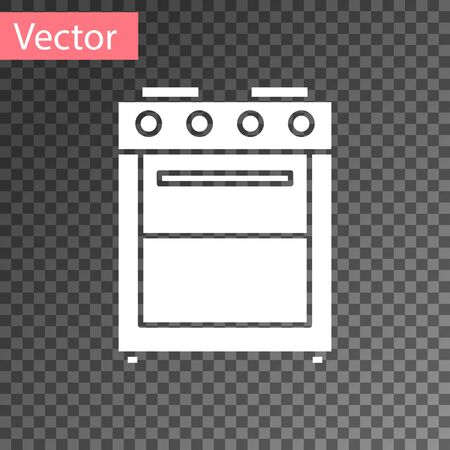 White Oven icon isolated on transparent background. Stove gas oven sign. Vector Illustration  イラスト・ベクター素材