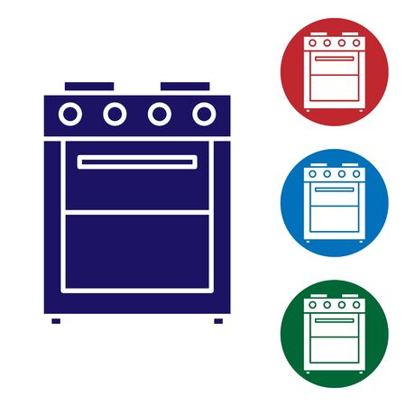 Blue Oven icon isolated on white background. Stove gas oven sign. Set color icons in circle buttons. Vector Illustration  イラスト・ベクター素材