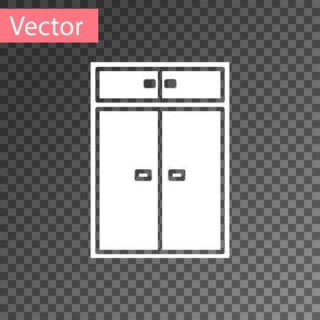 White Wardrobe icon isolated on transparent background. Vector Illustration