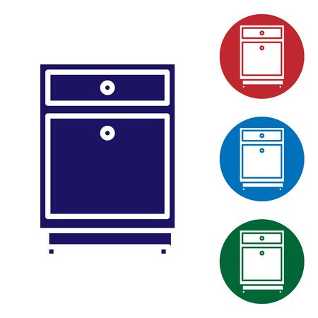 Blue Furniture nightstand icon isolated on white background. Set color icons in circle buttons. Vector Illustration Stock Illustratie