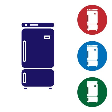 Blue Refrigerator icon isolated on white background. Fridge freezer refrigerator. Household tech and appliances. Set color icons in circle buttons. Vector Illustration Ilustração