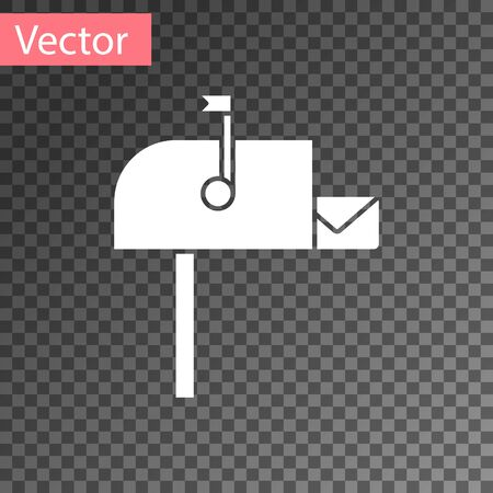 White Open mail box icon isolated on transparent background. Mailbox icon. Mail postbox on pole with flag. Vector Illustration Çizim