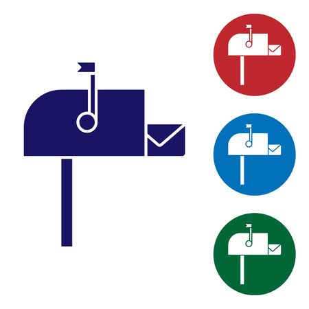 Blue Open mail box icon isolated on white background. Mailbox icon. Mail postbox on pole with flag. Set color icons in circle buttons. Vector Illustration