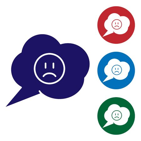 Blue Speech bubble with sad smile icon isolated on white background. Emoticon face. Set color icons in circle buttons. Vector Illustration