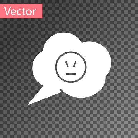 White Speech bubble with angry smile icon isolated on transparent background. Emoticon face. Vector Illustration